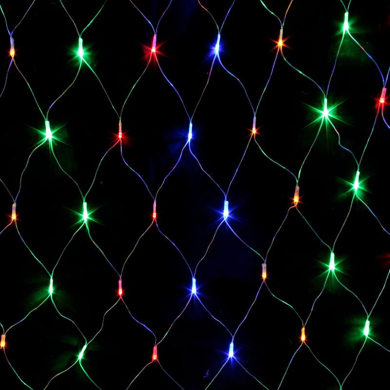 Гирлянда сетка. Светодиодные лампы 160л. LED 1.5x1.5м Разноцветная