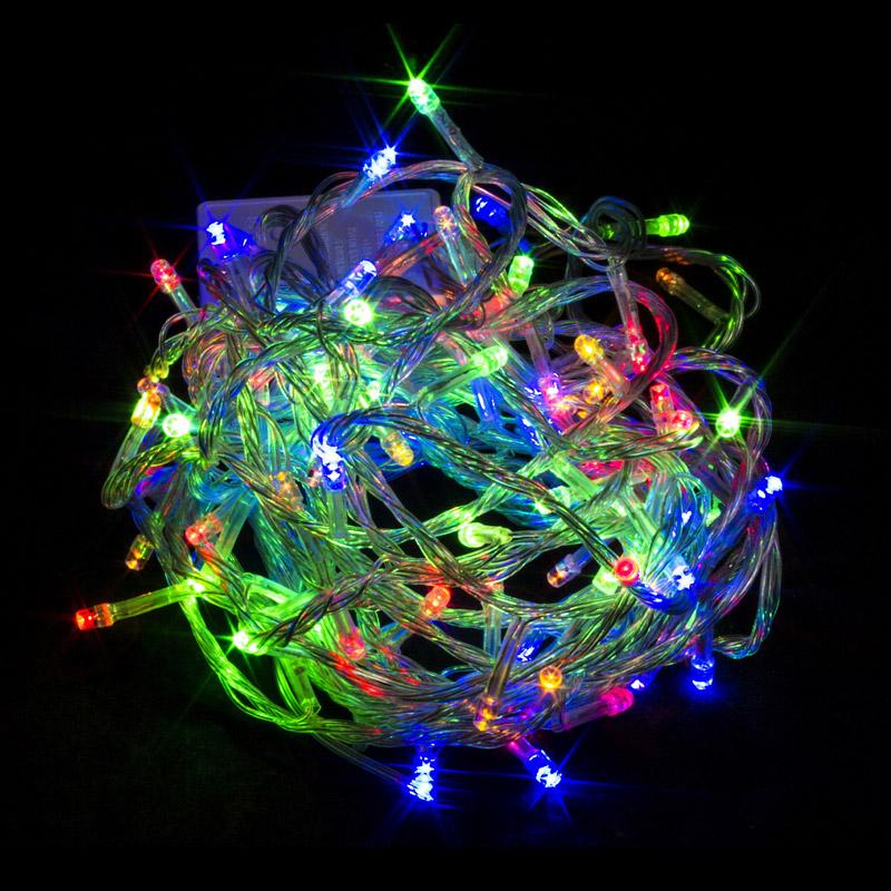 Гирлянда светодиодные лампы. 240л. LED 15м. Прозрачные провода. Разноцветная