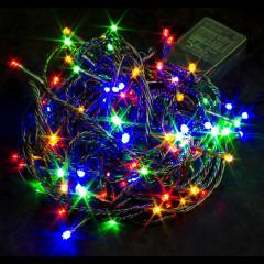 Гирлянда светодиодные лампы. 100л. LED 5м. Чёрные провода. Разноцветная