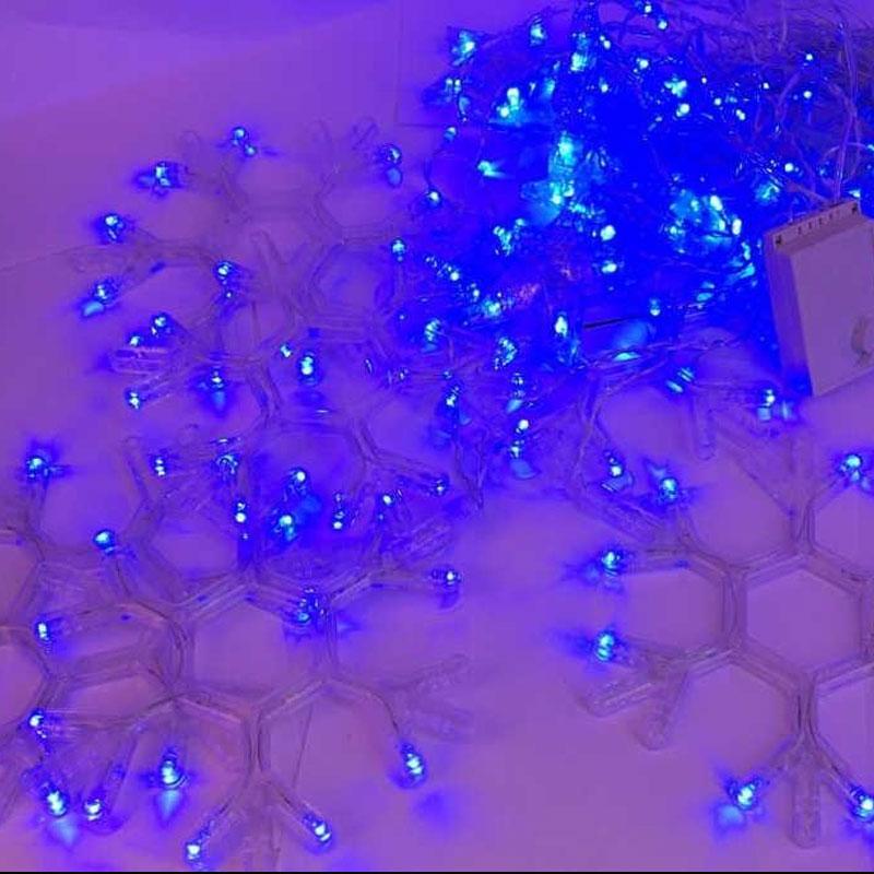 Гирлянда занавес. Светодиодные лампы Снежинки. Синий