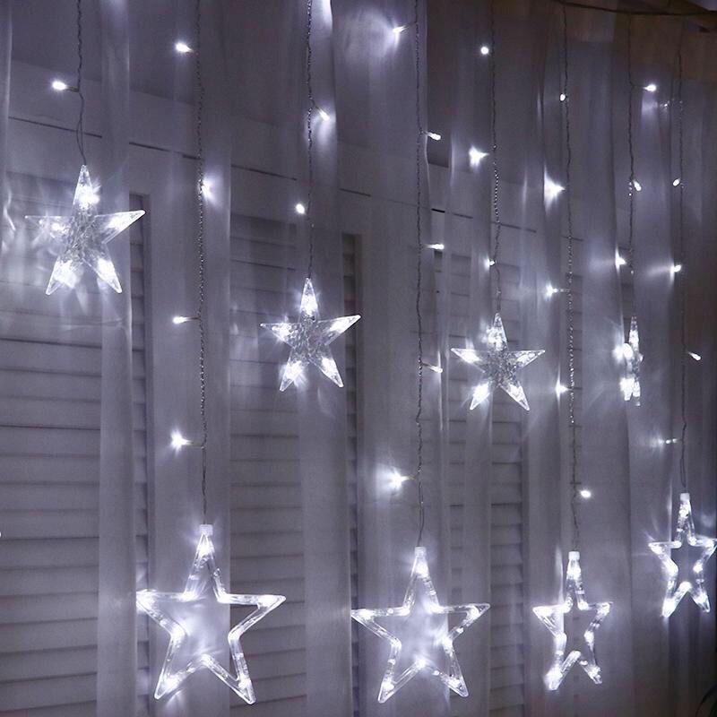 Гирлянда занавес. Светодиодные лампы Звезды. Белый