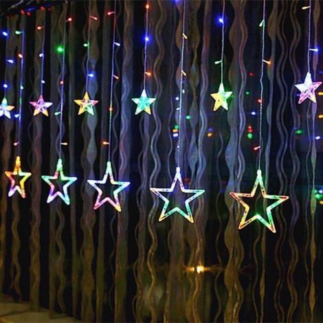 Гирлянда занавес. Светодиодные лампы Звезды. Мультиколор