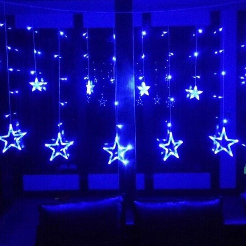 Гирлянда занавес. Светодиодные лампы Звезды. Синий