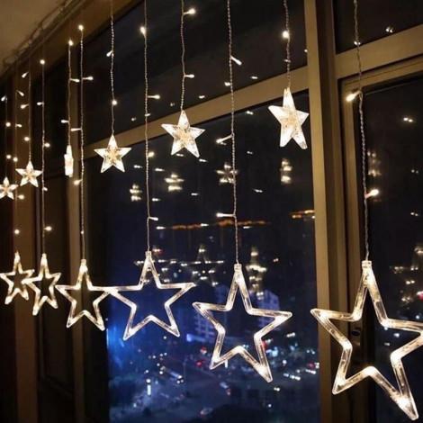 Гирлянда занавес. Светодиодные лампы Звезды. Золотой