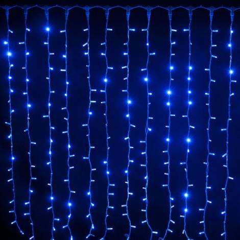 Светодиодный дождь Водопад 1.5x1.5 м, Прозрачный провод, Синий цвет